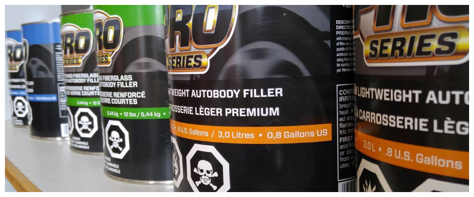 Cans of autobody filler